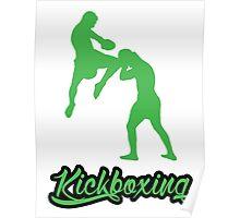 Kickboxing Man Jumping Knee Green  Poster