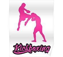 Kickboxing Man Jumping Knee Pink  Poster