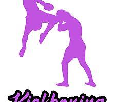 Kickboxing Man Jumping Knee Purple by yin888