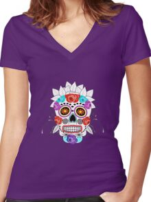Fun Bright Trendy Sugar Skull Women's Fitted V-Neck T-Shirt
