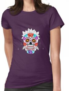 Fun Bright Trendy Sugar Skull Womens Fitted T-Shirt