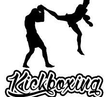 Kickboxing Man Jumping Back Kick Black  by yin888