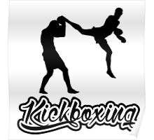 Kickboxing Man Jumping Back Kick Black  Poster