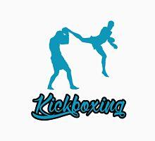 Kickboxing Man Jumping Back Kick Blue T-Shirt