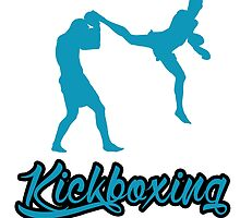 Kickboxing Man Jumping Back Kick Blue by yin888