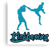 Kickboxing Man Jumping Back Kick Blue Canvas Print