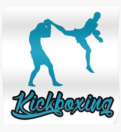 Kickboxing Man Jumping Back Kick Blue Poster