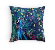 Psychedelic Peacock Throw Pillow