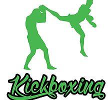 Kickboxing Man Jumping Back Kick Green  by yin888