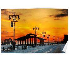 Boardwalk Winter Sunset Poster