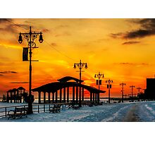 Boardwalk Winter Sunset Photographic Print