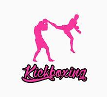 Kickboxing Man Jumping Back Kick Pink  Unisex T-Shirt