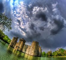 Bodiam Castle on a stormy day by Guy Carpenter