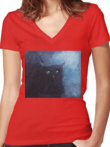 somewhere in the dark night... Women's Fitted V-Neck T-Shirt