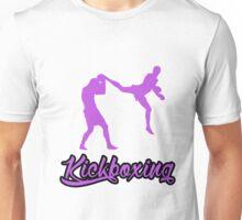 Kickboxing Man Jumping Back Kick Purple  Unisex T-Shirt