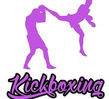 Kickboxing Man Jumping Back Kick Purple  by yin888