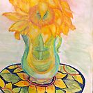 Sunflower in Murano glass on Mexican plate by Lynda Earley