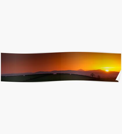 Sunset over Donegal Mountains Poster