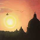 Sunset at Saint Peters Basilica Rome by Conor O&#x27;Brien
