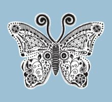 Butterfly Doodle One Piece - Short Sleeve