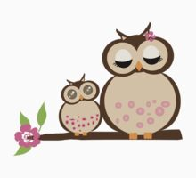 Mother and baby owls by clareville