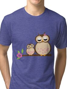 Mother and baby owls Tri-blend T-Shirt