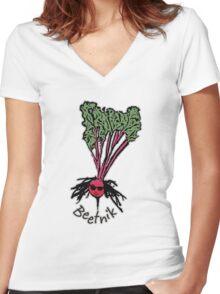 Beetnik Women's Fitted V-Neck T-Shirt