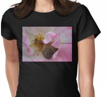 The Snail and the Hover-fly in the safety of a Rose  Womens Fitted T-Shirt