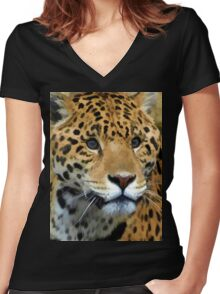Jaguar Wild Cat  Women's Fitted V-Neck T-Shirt
