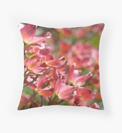 Trees Pink Dogwood Flowers Floral art Baslee Troutman Throw Pillow