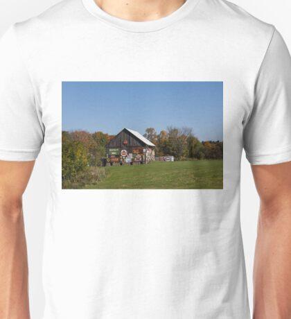 Roadside Gems - Sign Covered Wooden Barn Unisex T-Shirt