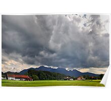 Dark Sky over Mountains Poster