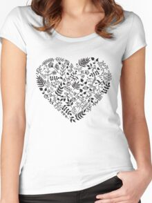 Rustic doodle floral pattern Women's Fitted Scoop T-Shirt