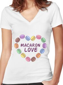 Macaroon pattern Women's Fitted V-Neck T-Shirt