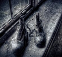 Abandoned Boots On A Windowsill by JustJosie