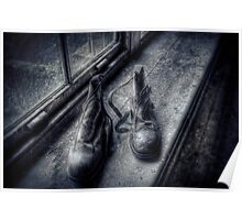 Abandoned Boots On A Windowsill Poster
