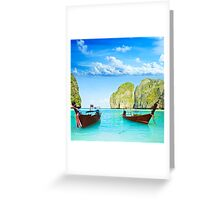 Longtail boats at Maya bay Greeting Card