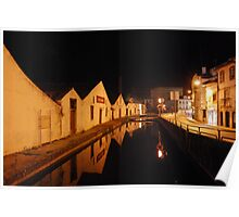 Water reflections at Everad Street in Tomar Poster