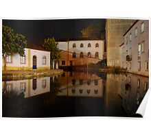 Water reflections of buildings in Tomar Poster