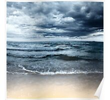 Sandy beach at stormy day. Dramatic sky Poster