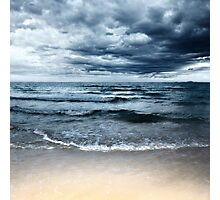 Sandy beach at stormy day. Dramatic sky Photographic Print