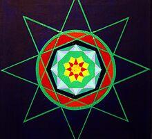 Hand-painted mandala/compass design by jeffreyeckel