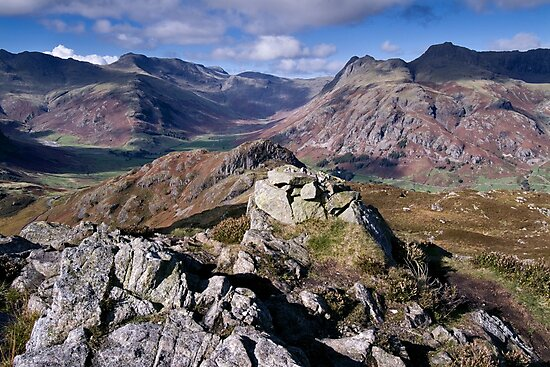 Bow Fell and the Langdale Pikes by Dave Lawrance