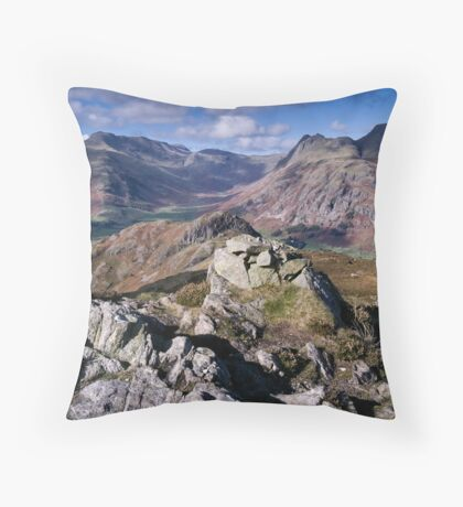Bow Fell and the Langdale Pikes Throw Pillow