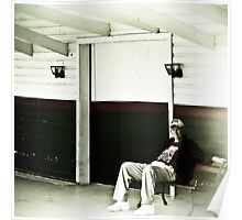 Man Sitting on a Bench Poster