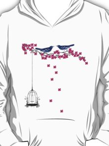 Cherry Blossom Bird Cage T-Shirt