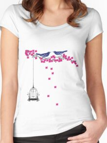 Cherry Blossom Bird Cage Women's Fitted Scoop T-Shirt