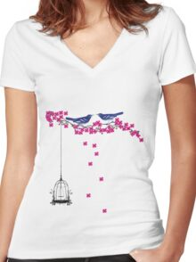 Cherry Blossom Bird Cage Women's Fitted V-Neck T-Shirt