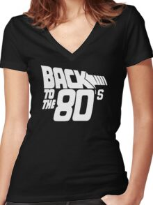 Back to the 80's, Funny Retro Women's Fitted V-Neck T-Shirt