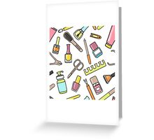 Pattern of manicure and pedicure doodle equipment. Nail art Greeting Card